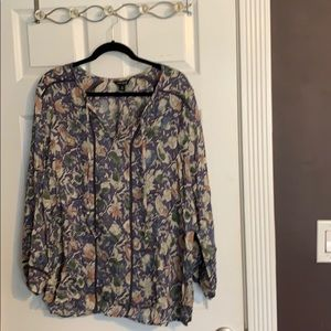 Lucky Brand Peasant Multi-Colored Peasant Blouse